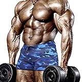Muscle Alive Hombres Apretado Culturismo Ejercicio 4 Pulgadas Bermudas Aptitud física Gimnasio Ejercicio Ropa de deporteCamuflaje Azul L