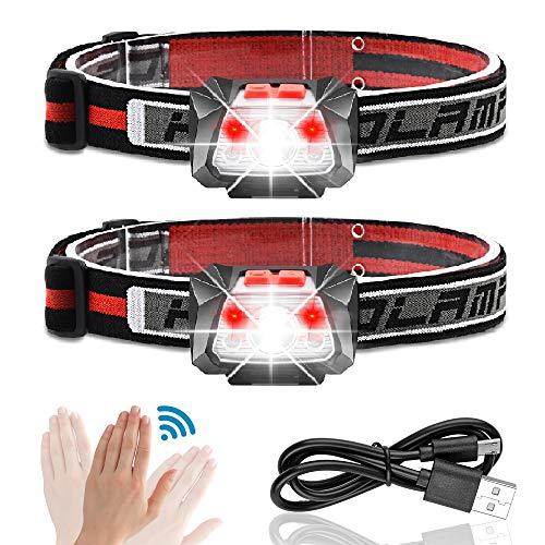Karrong Stirnlampe LED Wiederaufladbar fürJoggen Laufen Kinder Kopflampe IPX5 Wasserdicht mit Rotlicht