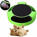 Invero - Juguete de atrapar el ratón de peluche en movimiento para gatos juguete, alfombra rascador interactiva