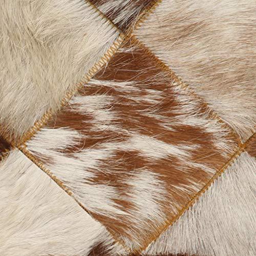 vidaXL Sofa 2-Sitzer Luxus Kuhfell-Look Polstersofa Loungesofa Ledersofa Designersofa Zweiersofa Sitzmöbel Wohnzimmer Weiß Braun Echtes Ziegenleder