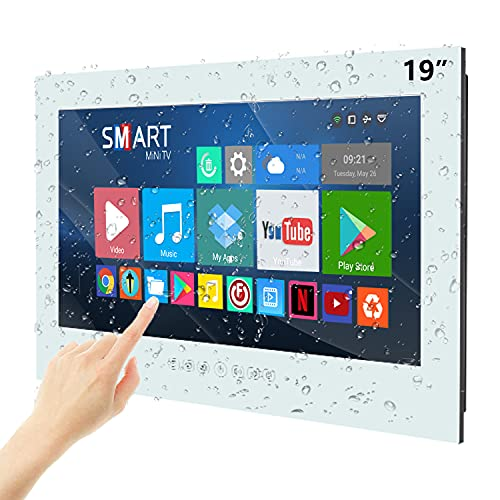Haocrown 19-inch Waterproof Bathroom TV Touchscreen Smart LED Television With Android 9.0 System...