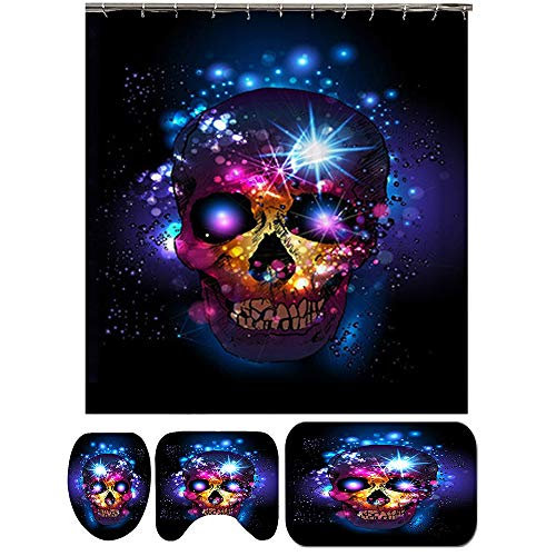MCTY Rutschfeste Badematte Halloween Totenkopf Element Duschmatte Sets mit Anti-Rutsch Teppichen, WC-Deckelbezug & Badematte & Duschvorhänge, langlebig Wasserdicht Badvorhang