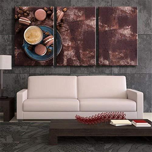 QUANQUAN Cuadro en Lienzo Café Macaron Gris 150X70 Cm impresión de 3 Piezas en Material Tejido no Tejido - impresión artística fotografía Imagen gráfica decoración de Pared