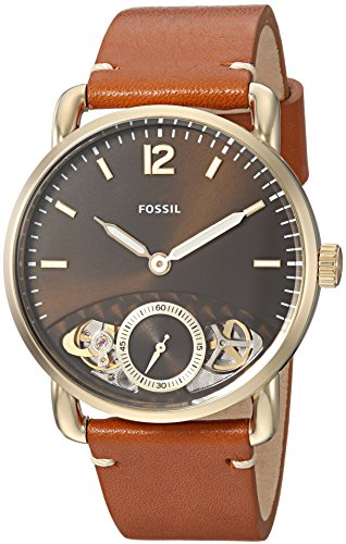 Fossil Men's The Commuter Twist Stainless Steel Quartz Watch with Leather Calfskin Strap, Brown, 22 (Model: ME1166)