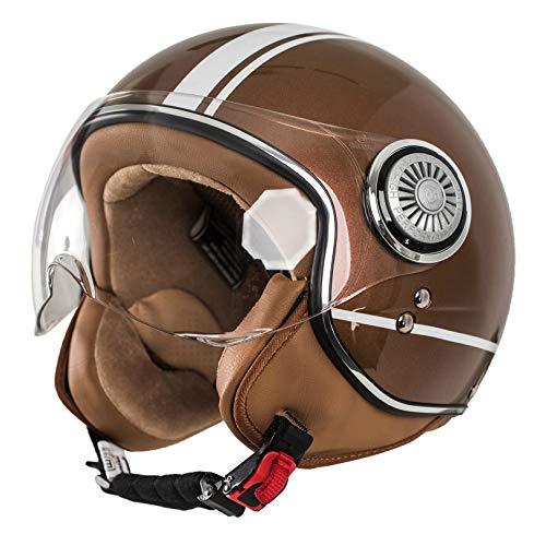 MONACO Jet-Helm mit Visier, Retro Pilot-Helm für Brillen-Träger, Roller-Helm für Frauen und Herren im Vintage-Look, Motorrad-Helm, braun, Qualität nach ECE-Norm,M