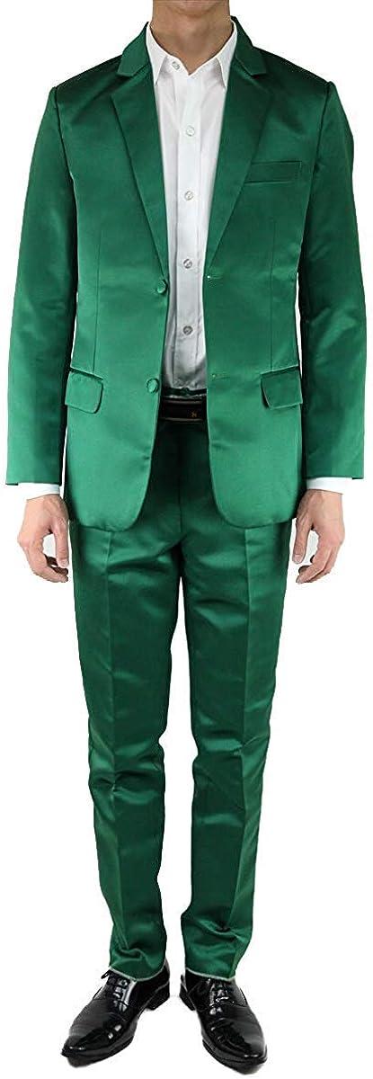 Wonder Stage Men's Slim Fit 2 Pc Solid Colored Suits Jacket Pants