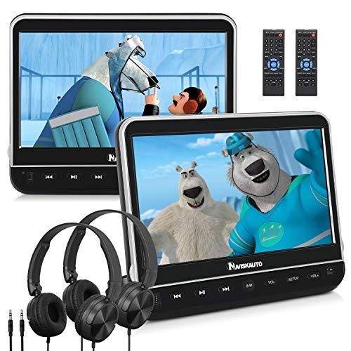 """10,1"""" DVD Coche con 2 Pantallas (2 Reproductores de DVD) para Niños, Dual DVD Portátil para Reposacabezas, Auriculares Equipados, Soporta Entrada HDMI, USB SD, Región Libre - NAVISKAUTO"""