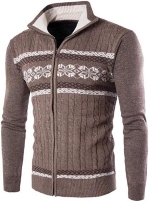 Hzikk Men's Cardigans Sweaters Warm Zipper Turn Down Collar Knitted Sweaters,Coffee,XL