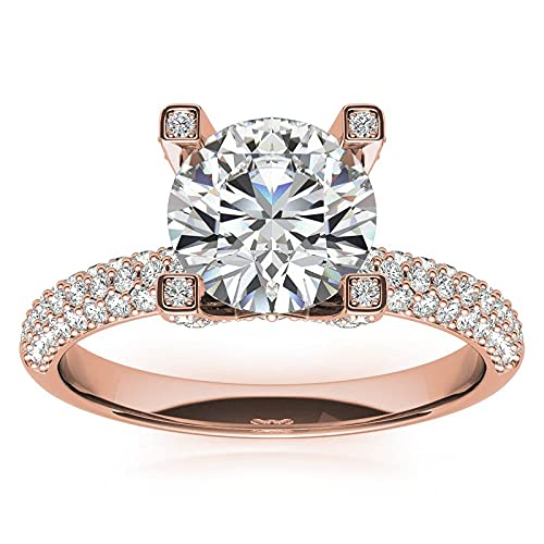 Customize Jewels Anillo de compromiso de moissanita de 2,10 quilates con diamante cultivado en laboratorio de oro rosa de 14 quilates, estilo pavimentado de 2,10 quilates, D-VVS1 7
