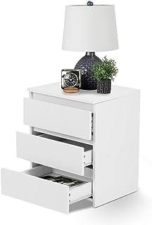 Stolik nocny, Stolik nocny 3 szuflady, z drewnianą półką MDF, do sypialni lub drewnianego przedpokoju, 45x38,2x56cm, biały