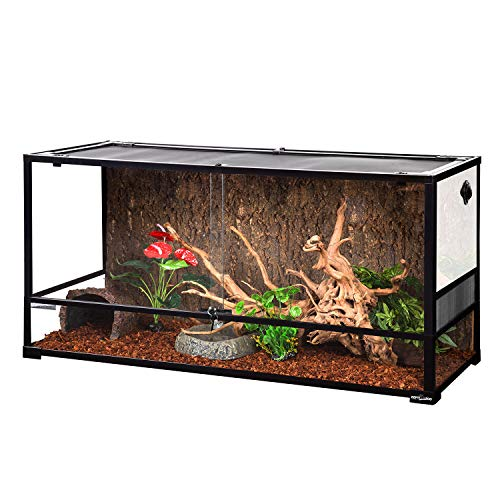 "REPTI ZOO Large Reptile Terrarium 85 Gallon, Front Opening Glass Reptile Habitat Tank 48"" x 18""x 24"", Wide & Tall Vivarium Tank Double Sliding Door with Screen Ventilation (Knock-Down)"