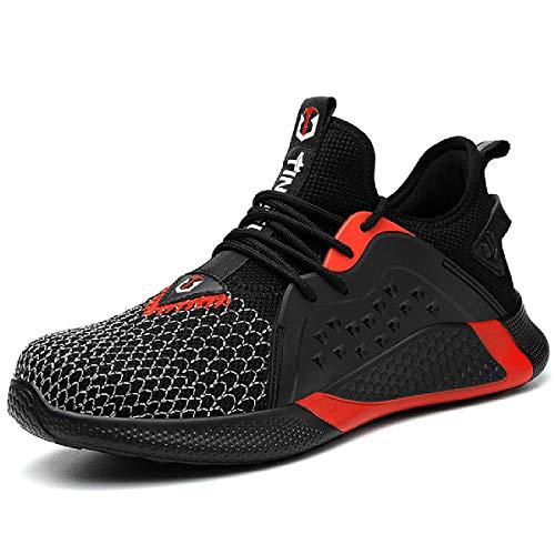 CHNHIRA Sicherheitsschuhe Herren Damen Arbeitsschuhe Leicht Sportlich S2 Stahlkappe Anti-Perforations Schutzschuhe Sneaker (EU 38 Schwarz Rot)