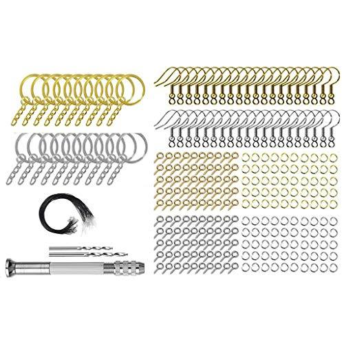 GREEN&RARE Kit de iniciación de fabricación de joyas de resina, 1 juego de llaveros de anillos divididos para manualidades, joyería de resina epoxi para hacer accesorios