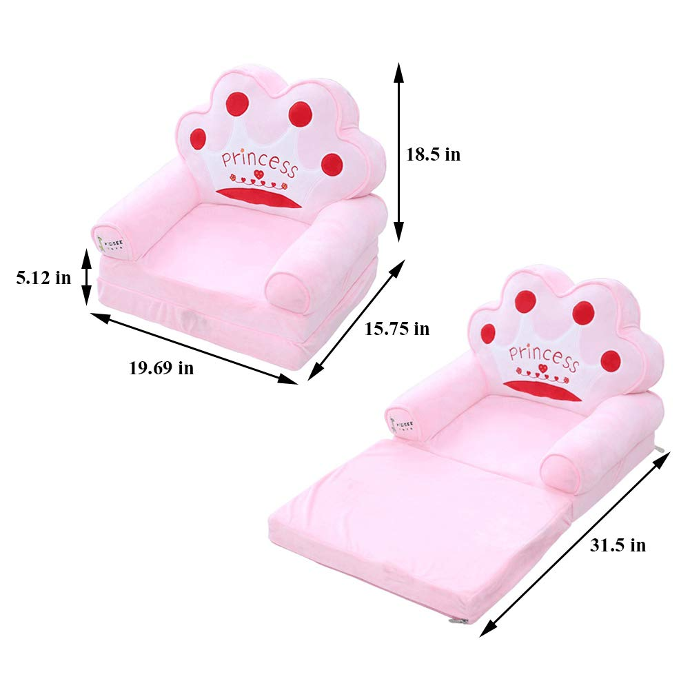 Trycooling Soft Plush Children Sofa Backrest Chair Foldable Infant Baby Seat for Living Room Bedroom Pink