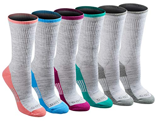 Dickies Women's Dritech Advanced Moisture Wicking Crew Sock (6/12 Packs), Grey Fashion (6 Pack), Shoe Size: 6-9