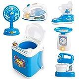 BUIDI Haushaltsgeräte Kinder geben vor, Spielzeug zu Spielen Küchenmixer Kaffeemaschinen-Set Elektrischer Ventilator 2694