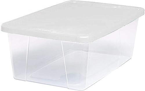 Homz Plastic Storage Bins Snap Lock White Lids 6 Quart Clear Stackable 10-Pack