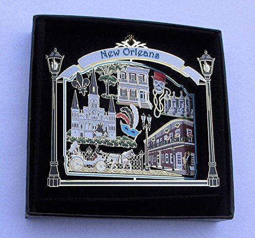 New Orleans Ornament State Souvenir Brass Black Leatherette Gift Box