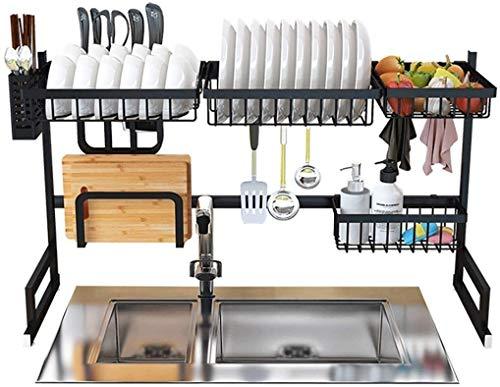 DJSMsnj Estante de almacenamiento de cocina, estante de secado de platos, escurridor de acero inoxidable negro, organizador de vajilla con soporte para utensilios de cocina