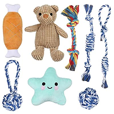 Focuspet Puppy Toys, 8 Pcs Dog Chew Rope Toys - Squeaky Plush Washable Puppy Toy Teeth Cleaning, Puppy Toys from 8 Weeks Dog Birthday Gift Sets Interactive and Relieve Boredom