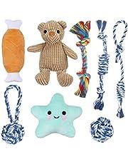Focuspet Zabawka dla szczeniaków, zestaw 8 szt. zabawka dla psów, wytrzymała interaktywna zabawka dla psów, dla szczenią/małych psów, nietoksyczna, bezzapachowa do czyszczenia zębów