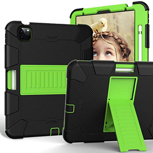 Case for iPad Air 4 10.9 Inch 2020, FSCOVER Shockproof Protective Kid Case with Soft Silicone and Hard PC Rugged Cover/Kickstand/Pencil Holder for iPad Air 4th Generation 2020 Tablet, Black Green