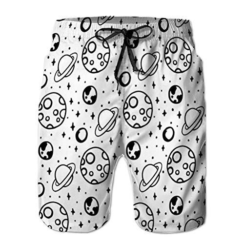 Pantalones Cortos de Playa de Secado rápido de Verano para Hombre Pantalones Cortos de Tablero Negro Blanco patrón Espacio Luna Estrella Planeta Fondo semitono