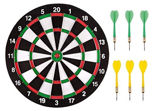 Idena 6176535 - Dartspiel mit 2 Dartscheiben und 6 bunten Pfeilen, 2 seitig bespielbar, Durchmesser ca. 29 cm, für drinnen und draußen