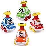 Press y Go Toy Cars,WolinTek Coches de Juguetes 2 años, Coches Bebes 1 años, Coche de Presión con Forma de Animal, 4 Pcs Vehículos de Juguete para Niños 1 2,3,4,5 años