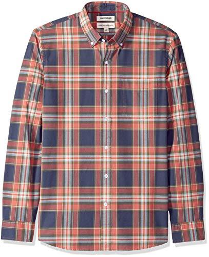 Marca Amazon – Goodthreads – Camisa Oxford A Cuadros De Manga Larga Y Corte Estándar Para Hombre, Azul (Navy Red Large Plaid Nrd), US S (EU S)