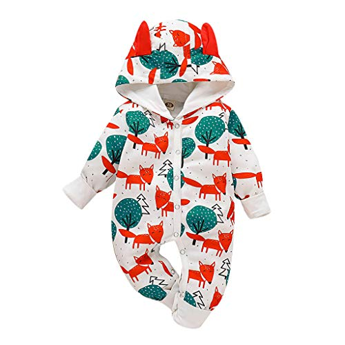 Baby Overall Winter, Huhu833 Neugeborenes Baby Mädchen Jungen Cartoon Drucken Ohr Strampler mit Kapuze Warm Lange Ärmel Jumpsuit Spielanzug 0-24 Monate (Mehrfarbig, 6-12Monate)