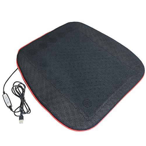 MRG クールマット 蒸れない 送風ファン内臓 シート USB電源 扇風機 座布団 クッション 暑さ対策 車 涼しい カバー 洗える マット (ブラック)