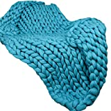 40x59in Super Chunky Knit Blanket Teal Merino Wool Blanket Handmade Throw Extreme Knitting Chunky Blanket Super Bulky Throw Chunky Yarn