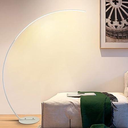 Lampadaire Arc LED Moderne, Lampadaire sur Pied Salon Dimmable avec Télécommande, Facile à Monter sans Scintillement Soin des YeuxLampe de Lecture pour,Bureau lamp, Lumière de la Chambre (blanc)