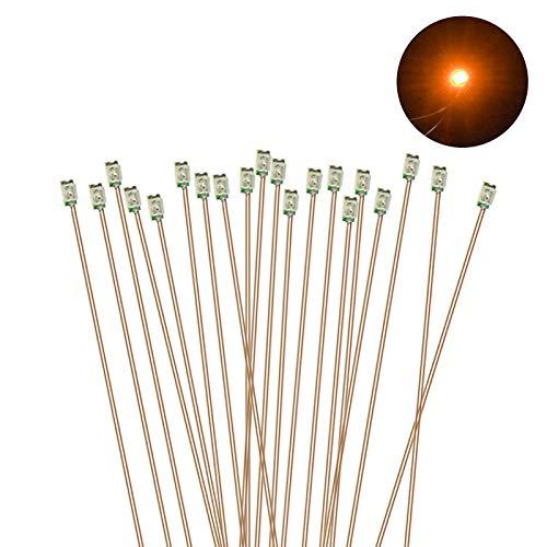 Evemodel C0603R Lot de 20 micro LED SMD pré-soudées 0,1 mm avec fil de cuivre Rouge 0603