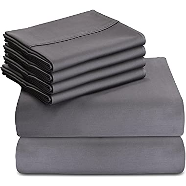Utopia Bedding 6-Piece Bed Sheet Set (Queen, Grey) With 4 Pillow Cases - Soft Brushed Microfiber Wrinkle, Fade and Stain Resistant Sheet Set