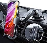 【最新進化版】【RoHS国際認証/特許取得】 VANMASS 車載ホルダー 片手操作 スマホホルダー 車 スマホスタンド 携帯ホルダー カー用品 安定性抜群 自動開 iPhone/Samsung/Sony/LG/HUAWEIなど4-7インチ全機種対応 粘着ゲル吸盤&吹き出し口式兼用(ダークブラック)