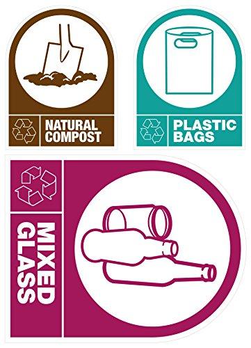 Autocollant recyclage Étiquettes : Compost naturel, Sacs en plastique et verre mixte