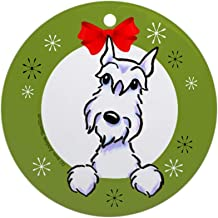 Xmas Decorative Hanging Ornament for Christmas Tree, Porcelain - White Schnauzer Lover Christmas Wreath Ornament Round Holiday Christmas Ornament