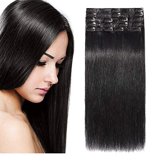Clip In Extensions Echthaar DOUBLE DRAWN Haarverlängerung 8 Tressen Dick zum Ende Glatt 40cm - 90g - Schwarz #01