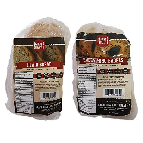 Great Low Carb Bread/Bagel Value Combo - Plain Sandwich Bread and Everything Bagels (Best Seller Bundle Pack)