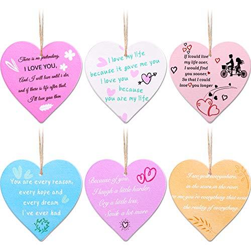 6 Piezas de Letreros de Madera de San Valentín Decoraciones Colgantes de Madera en Forma de Corazón para Recuerdo Romántico de Novio o Novia, 6 Estilos