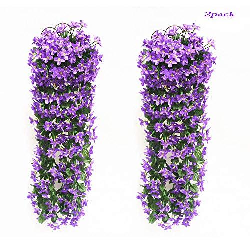 2 Stück kunstblumen veilchen LMYTech hgende blumen/hgende kunstblumen/hgende kunstpflanzen/kunstpflanze hängend/700 mm/Party Dekoration/Hochzeit Dekoration-Lila