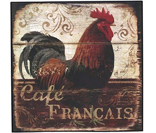 BGOJM Happy Chickens, Rooster Aluminum Metal Sign Plate, Vintage Plaque Meatl Sign Kitchen Cafe Dining Room Home Wall Decor (Dark Red)