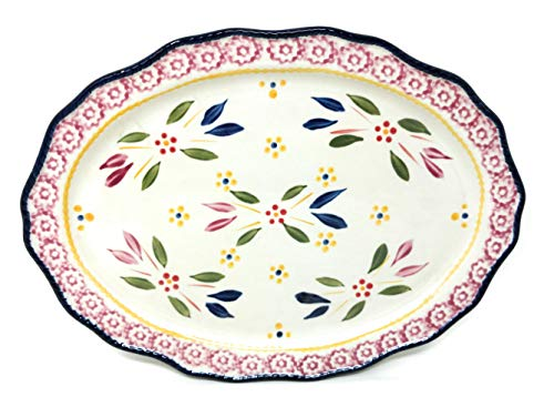 Temp-tations 12″ Oval Cookie Sheet, Platter, OR Cheese & Cracker Tray (Old World Confetti)