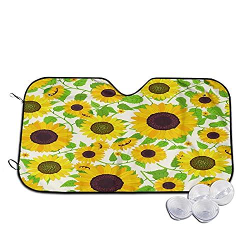 Parasol para Coche,Flores Girasoles Amarillos Flores Guirnalda E,Parabrisas de prevención de Calor Parasol Protector de Visera de Rayos UV 55'X29.9'