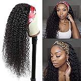 HeadBand Wig Human Hair,Kinky Curly Human Hair Wig for Black Women CCOLLEGE Glueless Brizilian Virgin Hair Long Kinky Curly Wave Machine Made Wigs Natural Color 22 Inch