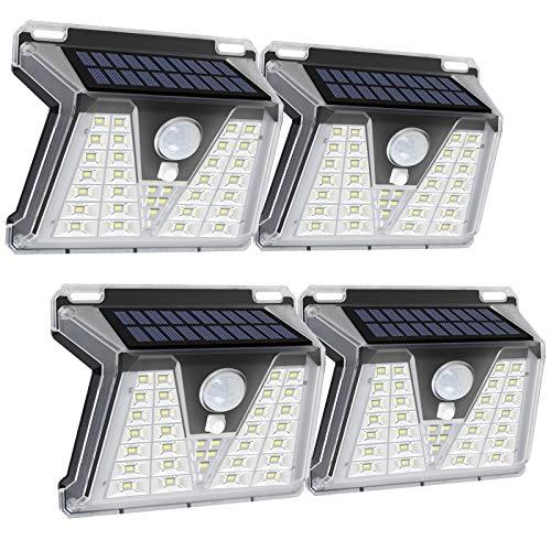 Solarlampen für Außen, FOCHEA 4 Stück 33 LED Solarleuchten Außen Solarlampe Wandleuchte mit Bewegungsmelder 3 Modi für Garten Außen
