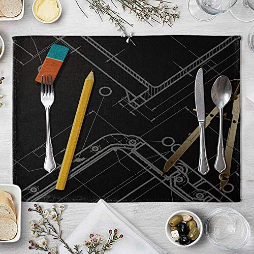 Beydodo Fall Placemats Set of 4, Linen Machine Washable Placemats 12x16 inch Drawing Tools Placemats Indoor Decor