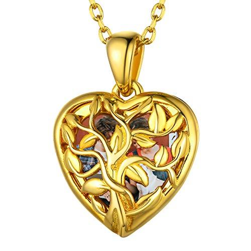 GOLDCHIC JEWELRY Medaglione Personalizzato con Albero della Vita in Oro, Collana con Cuore in Argento Sterling per Foto Regali per Mamma Nonna